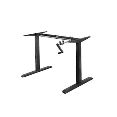 64 in. Rectangular Black Standing Desk with Adjustable Height Feature