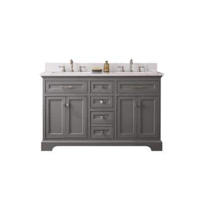 Thompson 54 in. W x 22 in. D Bath Vanity in Gray with Engineered Stone Vanity Top in Carrara White with White Basins
