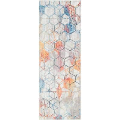 Unique Loom White 8 Ft X 8 Ft Rainbow Area Rug 3142579 The Home Depot