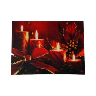 12 in. x 15.75 in. LED Lighted Red Glitter Striped Candles with Poinsettia and Bow Christmas Canvas Wall Art