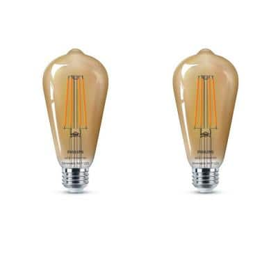 Amber ST19 LED 40-Watt Equivalent Dimmable Smart Wi-Fi Wiz Connected Wireless Light Bulb (2-Pack)
