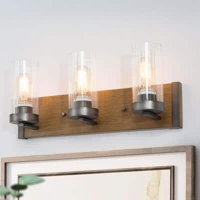 Faux Wood Bronze Vanity Light, Farmhouse Bathroom Wall Sconce Eliora 3-Light Brushed Gray Industrial Wall Light