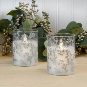 Maidenhair Fern Silver Battery Operated LED Glass Candles with Moving Flame (Set of 2)