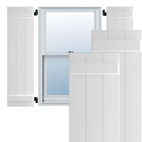 Ekena Millwork 16 1 8 X 66 True Fit Pvc Three Board Joined Board N Batten Shutters White Per Pair 1572664 The Home Depot