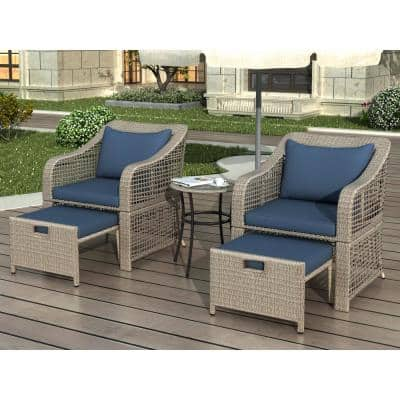 Natural Hued 5-Piece Wicker Patio Conversation Set with Navy Cushions