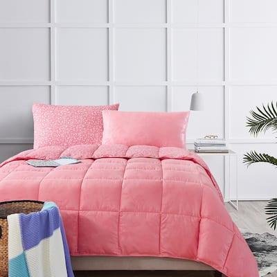 Bird on Branch Flamingo Pink King Comforter Set