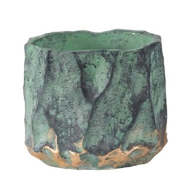 6.5 in. H Green, Gold Concrete Planter