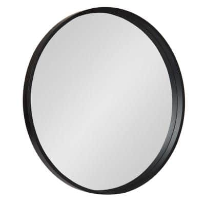 Medium Round Black Contemporary Mirror (25.59 in. H x 25.59 in. W)