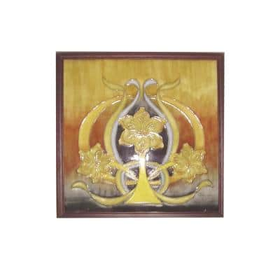 Pasque Flower Abstract Wall Art with Hand Painted Porcelain style 9.5 in. x 9.5 in.