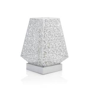 10 in. Tall White Tabletop Lamp with Chain Style Filament LED Lights