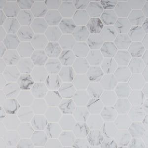 Carrara Hexagon 12 in. x 12 in. x 10 mm Matte Porcelain Mesh-Mounted Mosaic Tile (8 sq. ft. / case)