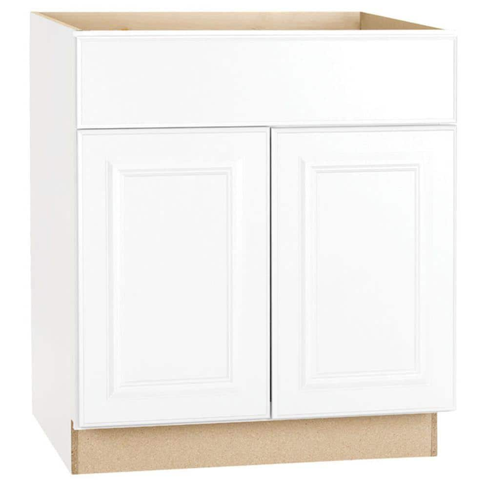 Hampton Satin White Raised Panel Stock Assembled Base Kitchen Cabinet with Drawer Glides (30 in. x 34.5 in. x 24 in.)
