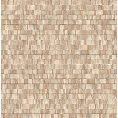 Constantine Copper Faux Wood Copper Wallpaper Sample