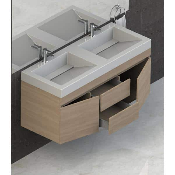 Lift Bridge Kitchen Bath Viteli Plus Genova 48 In W X 19 In D Vanity In Latte With Cultured Marble Vanity Top In White With Double White Basin 48vgenlat The Home Depot