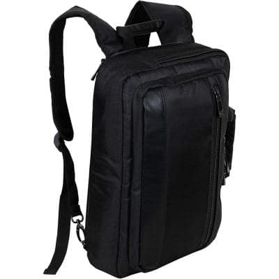 Black Convertible Portfolio Polyester 15.6 in. to 17 in. Laptop & Tablet Business Case Computer Portfolio Bag w/ RFID