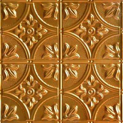 Tiptoe 2 ft. x 2 ft. Nail Up Tin Ceiling Tiles Surface Mount Lincoln Copper (48 sq. ft./case)