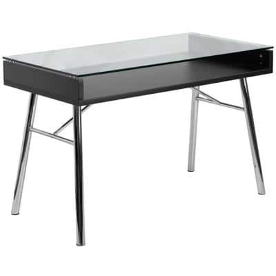 47.3 in. Rectangular Clear/Chrome Writing Desks with Built-In Storage