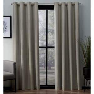 Beige Woven Thermal Blackout Curtain - 52 in. W x 63 in. L (Set of 2)