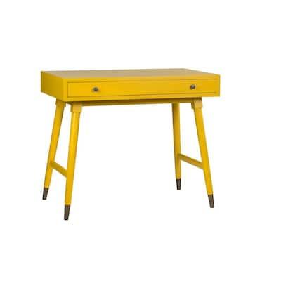Jillian 36 in. Rectangular Yellow 1 Drawer Computer Desk with Storage