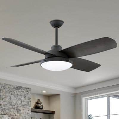 Sunhill 56 in. Integrated LED Indoor/Outdoor Sand Black Ceiling Fan with Light