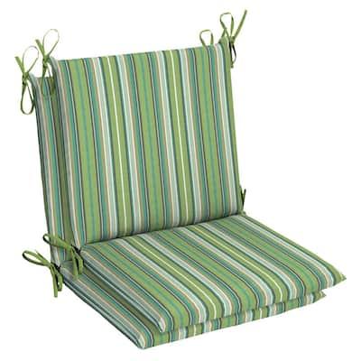 Belcourt 19 x 36 Sunbrella Foster Surfside Mid Back Outdoor Dining Chair Cushion (2-Pack)