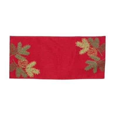 0.1 in. H x 16 in. W x 36 in. D Christmas Pine Tree Branches Embroidered Double Layer Table Runner