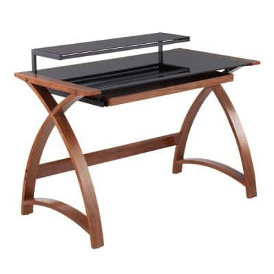 Bentley 43 in. Walnut Wood and Black Glass Computer Desk with Pull-Out Drawer