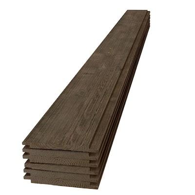 1 in. x 8 in. x 4 ft. Barn Wood Dark Brown Shiplap Pine Board (6-Pack)