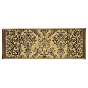 Kurdamir Elegante Ivory 9 in. x 33 in. Stair Tread Cover
