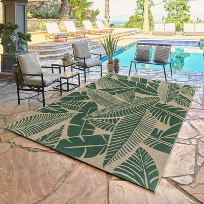 Calypso Yarra Green 5 ft. x 8 ft. Floral Indoor/Outdoor Area Rug