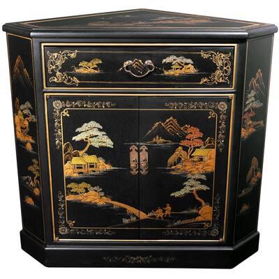 Black Lacquer Japanese Landscape Corner Cabinet