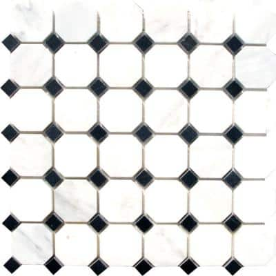 Greecian White Octagon 12 in. x 12 in. x 10 mm Polished Marble Mosaic Tile (10 sq. ft. / case)