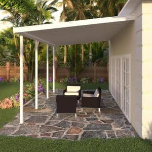 20 ft. x 12 ft. White Aluminum Attached Solid Patio Cover with 4 Posts (10 lbs. Live Load)