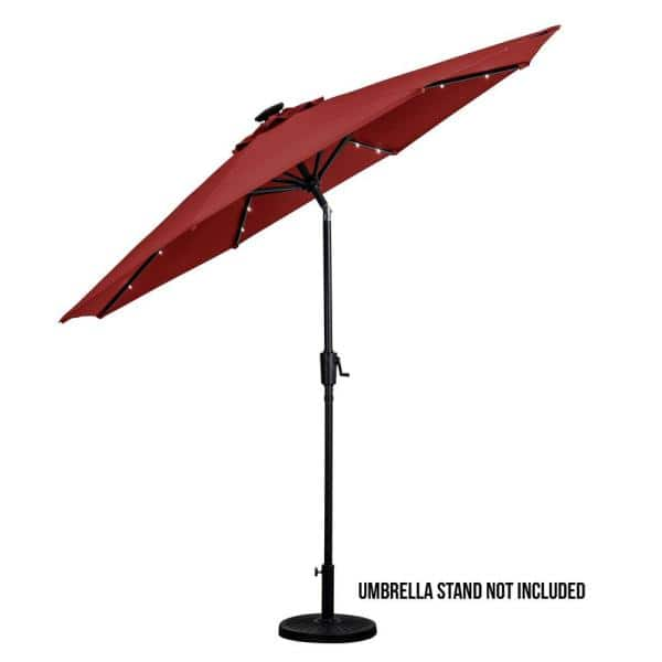Sun Ray 9 Ft Round Solar Lighted Market Umbrella Scarlet 841022 The Home Depot