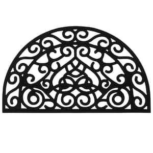 Rubber Doormat Collection Black Pins Slice 18 in. x 30 in. Rubber Door Mat