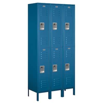 62000 Series 36 in. W x 78 in. H x 15 in. D 2-Tier Metal Locker Assembled in Blue