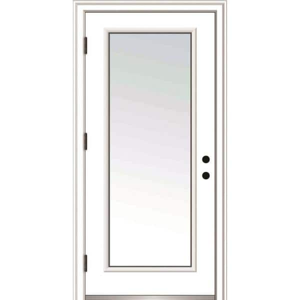 Mmi Door 36 In X 80 In Severe Weather Right Hand Low E Impact Glass Full Lite Clear Primed Fiberglass Prehung Front Door Z020358r The Home Depot