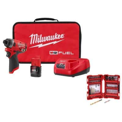 M12 FUEL 12-Volt Lithium-Ion Brushless Cordless 1/4 in. Hex Impact Driver Kit with SHOCKWAVE Bit Set (50-Piece)