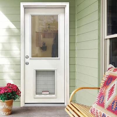 32 in. x 80 in. Classic Clear Half Lite RHIS White Primed Fiberglass Prehung Back Door with SL Pet Door
