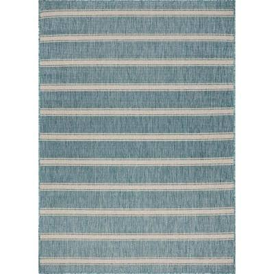 Destiny Beach Blue / White 1 ft. 10 in. x 3 ft. Striped Polypropylene Indoor/Outdoor Area Rug