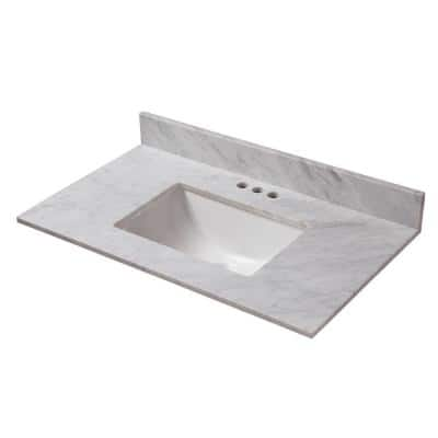 25 in. W x 19 in. D Marble Vanity Top in Carrara with White Trough Basin