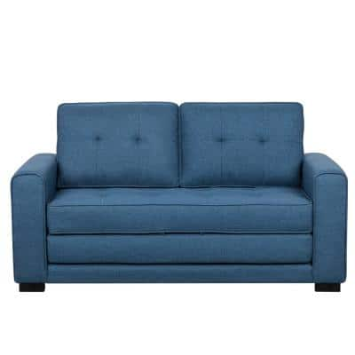 Bray 58 in. Blue Linen 2-Seater Twin Sleeper Sofa Bed with Removable Cushions