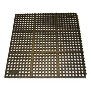 K-Series Black 36 in. x 36 in. x 7/10 in. Drain-Thru Grease-Resistant Rubber Kitchen Mat