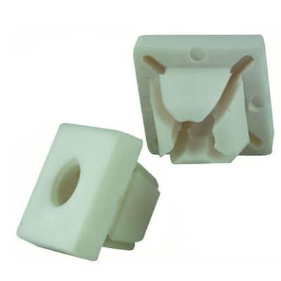 M6-1/4 in. White Square Nylon Push-In Nut (2-Piece per Bag)