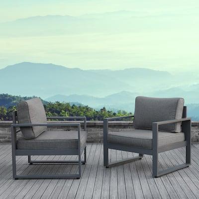 Baltic Gray 2 Piece Aluminum Patio Conversation Set with Gray Cushions