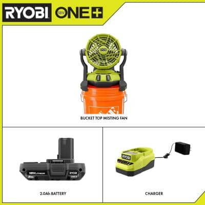 ONE+ 18V Cordless 2-Speed Bucket Top Misting Fan and 2.0 Ah Compact Battery and Charger Starter Kit