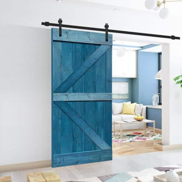 Calhome K Series 30 In X 84 In Solid Ocean Blue Stained Pine Wood Interior Sliding Barn Door With Hardware Kit Swd11 Mk 72 Door Diy K30n The Home Depot