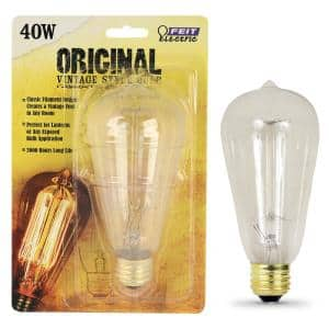 40W Equivalent ST19 Dimmable Incandescent Amber Glass Vintage Edison Light Bulb With Cage Filament Soft White