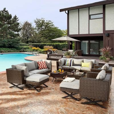 Patio Festival X Leg 12 Piece Wicker Patio Conversation Sectional Seating Set With Gray Cushions Pf20143x2 205x2 713x2 714x2 715x2 716x2 The Home Depot