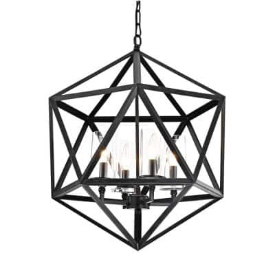 4-Light Antique Black Geometric Iron Cage Chandelier with Glass Shade